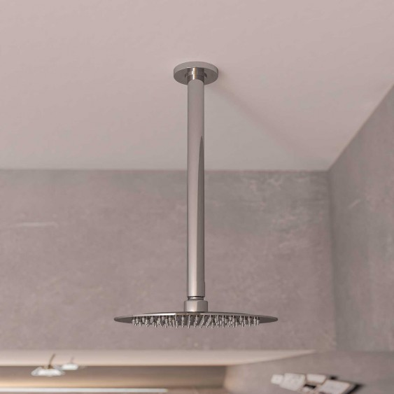 Braccio doccia ottone cromato 15 cm tondo da soffitto