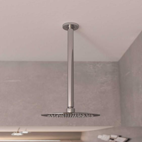 Braccio doccia ottone cromato 30 cm tondo da soffitto