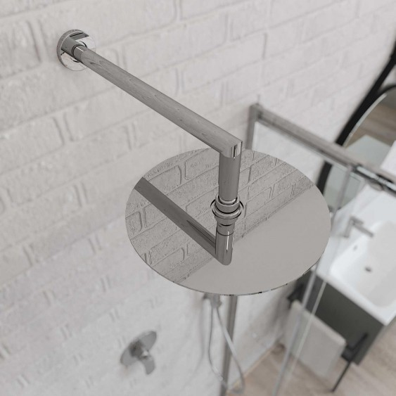 Braccio doccia ottone cromato 35 cm tondo