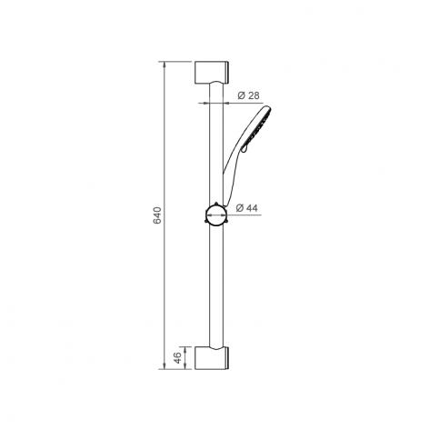 Asta doccia saliscendi cromo tonda doccetta 2 funzioni flex doppia graffatura