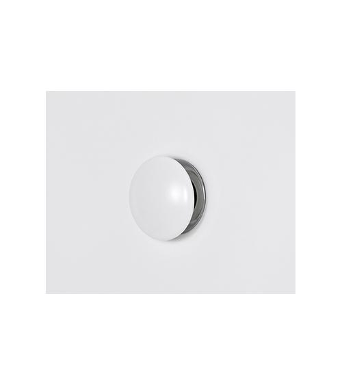 "Piletta di scarico 1""1/4 click clack in ottone calotta in ceramica bianco opaco tonda"