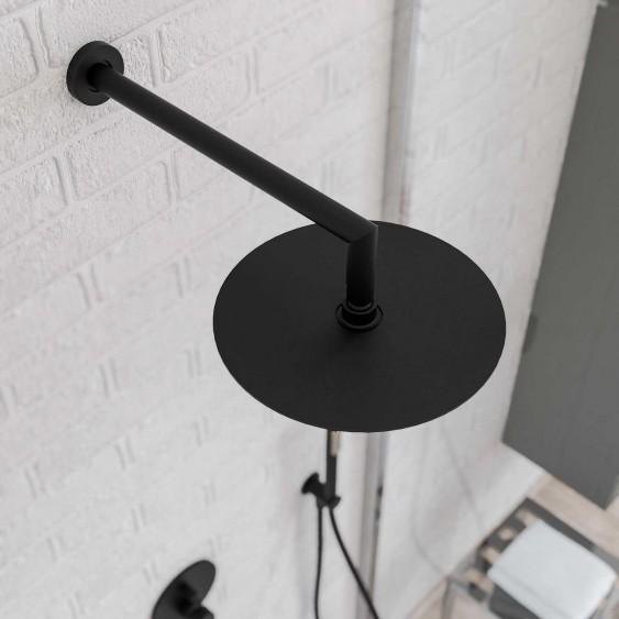 Braccio doccia ottone nero opaco 35 cm tondo