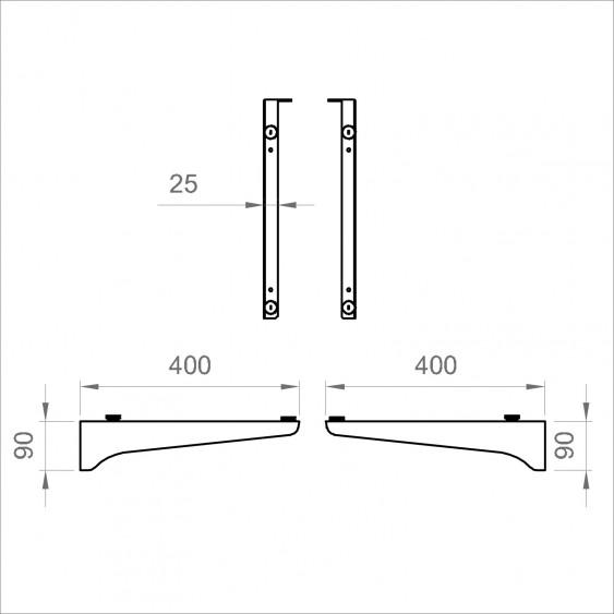 Coppia di staffe regolabili 40 cm per piani sospesi