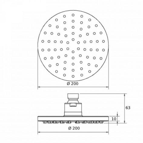 Soffione doccia tondo monogetto diametro 20 cm in abs effetto specchio