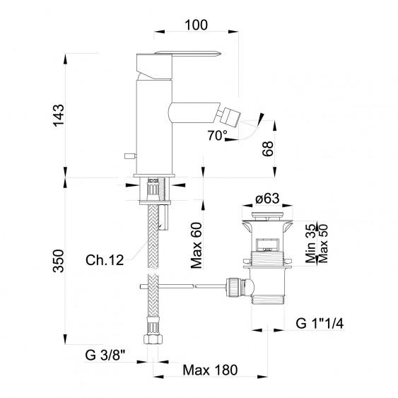 Miscelatore bidet cromato con scarico e aeratore orientabile Ponsi Ecosole