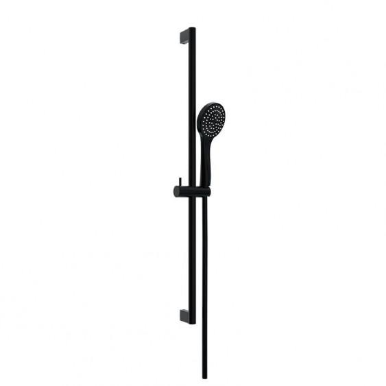 Asta doccia saliscendi tonda nero opaco doccetta in ABS monofunzione