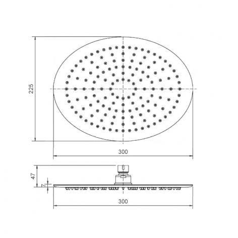 Soffione doccia acciaio inox cromato ovale 22,5x30 cm