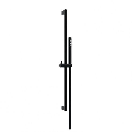 Asta doccia saliscendi tonda doccetta stick in ottone una funzione nero opaco