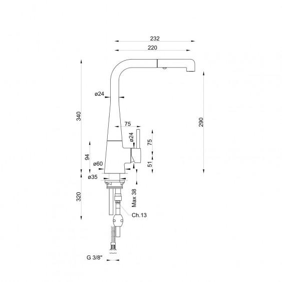 Miscelatore lavello corpo conico collo girevole e doccetta dualjet estraibile Ponsi