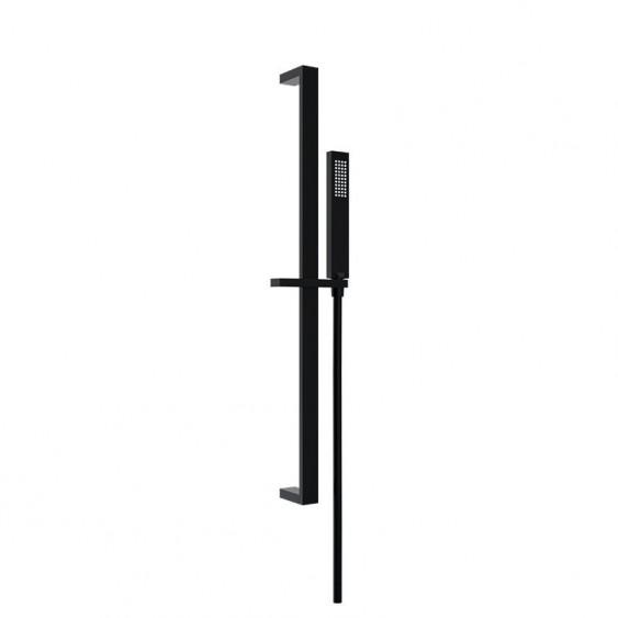 Asta doccia saliscendi in ottone nero opaco doccetta rettangolare
