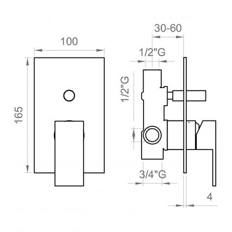 Miscelatore incasso doccia 2 vie nero opaco piastra quadrata