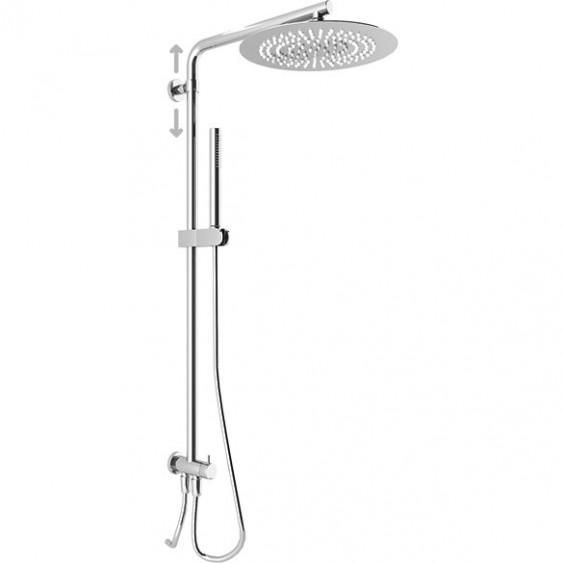 Colonna doccia tonda con soffione tondo diametro 30 cm e presa d'acqua con flessibile