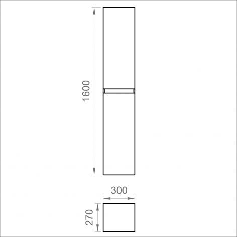 Colonna pensile h 160 cm rovere chiaro 2 ante reversibile
