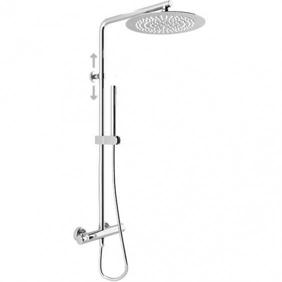 Colonna doccia tonda in ottone cromato con termostatico soffione tondo diametro 20 cm