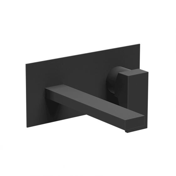 Miscelatore incasso lavabo da parete nero opaco bocca da 18 cm
