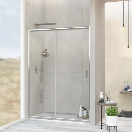 Soffione doccia acciaio inox cromato 23x55 cm effetto pioggia
