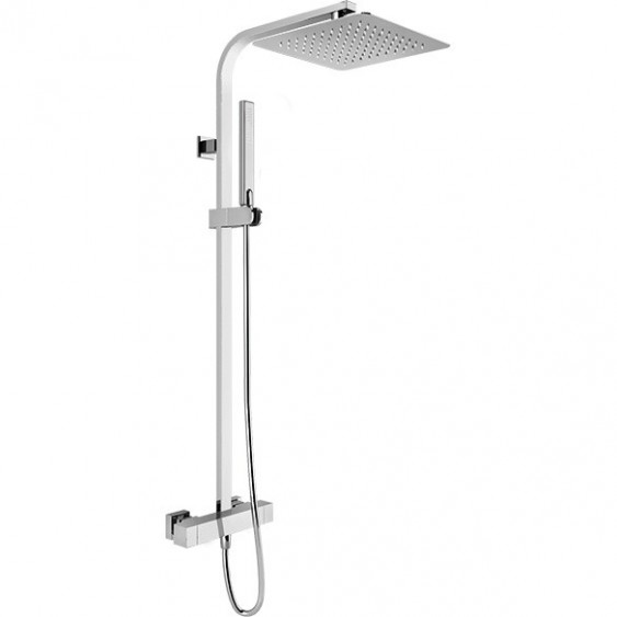 Colonna doccia rettangolare con termostatico soffione quadrato 20x20 cm