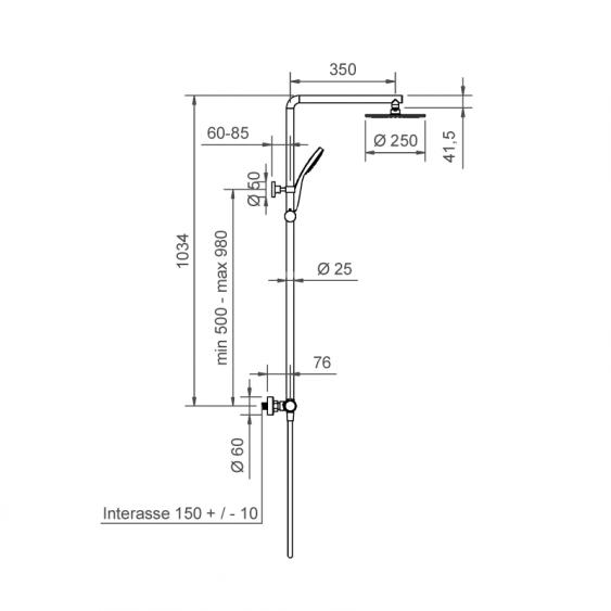 Colonna doccia termostatica nera opaca tonda