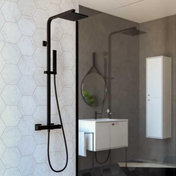 Colonna doccia termostatica nera opaca quadrata