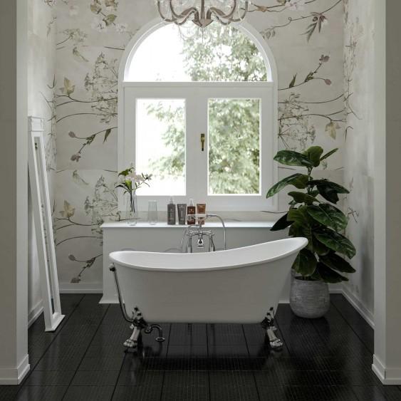 Vasca free standing 75 x 160cm in acrilico bianco lucido design con troppo pieno