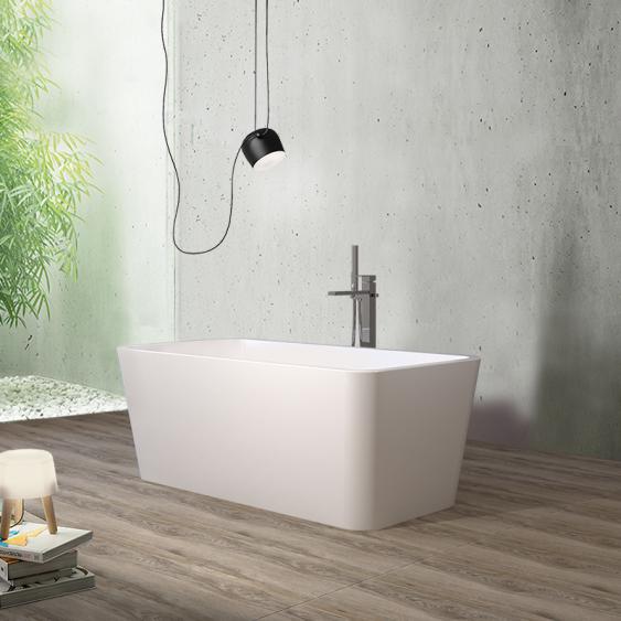 Vasca free standing 74 x 149 cm in acrilico bianco lucido rettangolare con troppo pieno