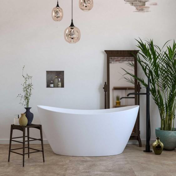 Vasca free standing 80 x 150 cm in acrilico bianco lucido ovale con troppo pieno