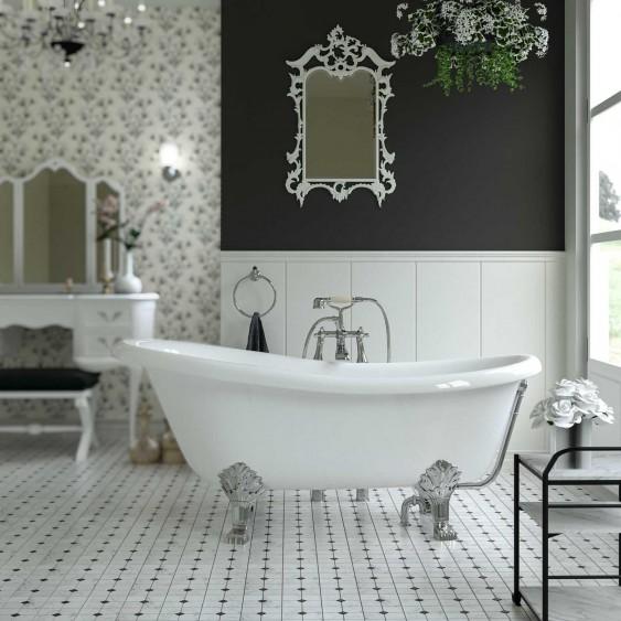 Vasca free standing 76x167 cm in marmoresina bianco lucido con troppo pieno
