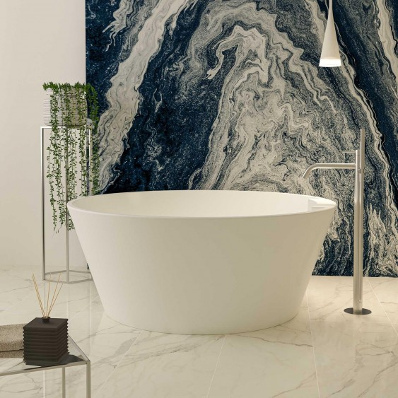 Vasca free standing 145 cm in acrilico bianco lucido tonda con troppo pieno