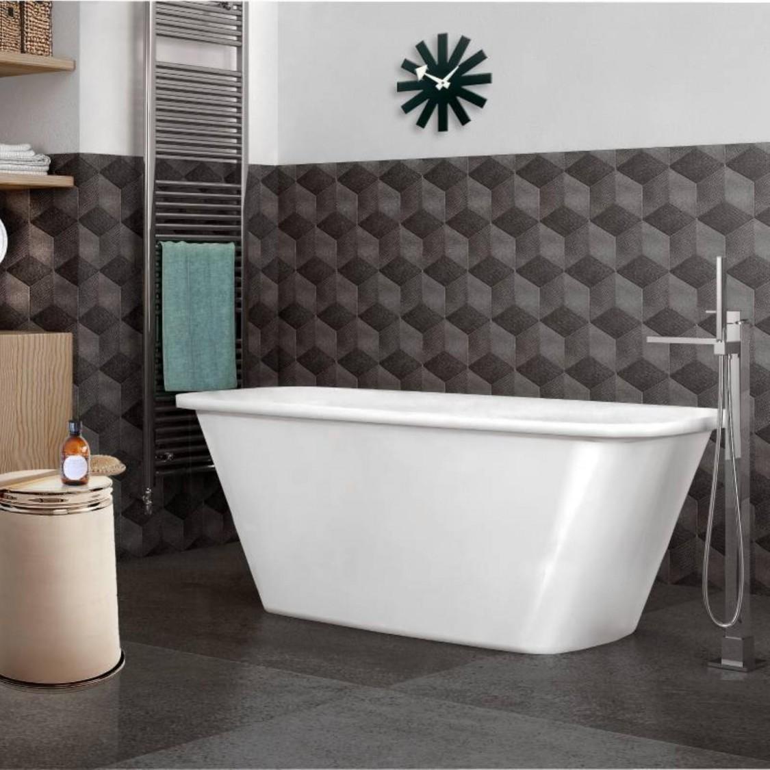 Vasca da bagno rettangolare freestanding in marmoresina bianco opaco installazione libera 1700x700 mm
