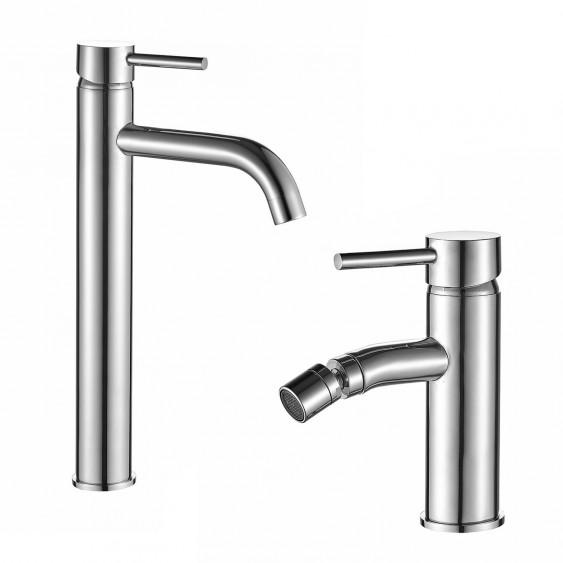 Coppia miscelatori rubinetti lavabo alto e bidet ottone cromato senza scarico Ponsi Dante
