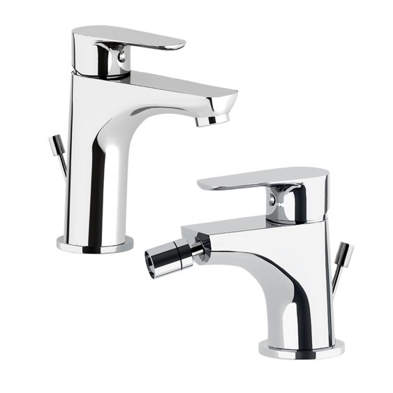 Coppia miscelatori rubinetti lavabo e bidet cromati leva monocomando Ponsi Ecostyle