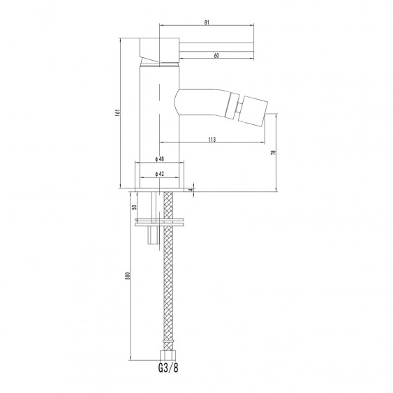 Tris miscelatori lavabo alto, bidet e incasso doccia 1 via ottone cromato Ponsi Dante