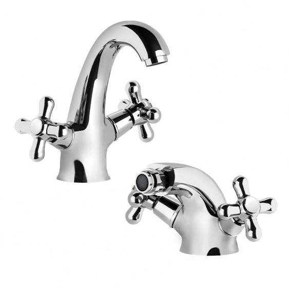 Ponsi Giglio coppia rubinetti bagno lavabo e bidet cromati design classico