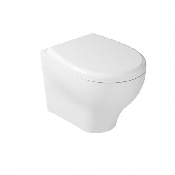 Coppia sanitari sospesi filo parete in ceramica bianco lucido con sedile avvolgente