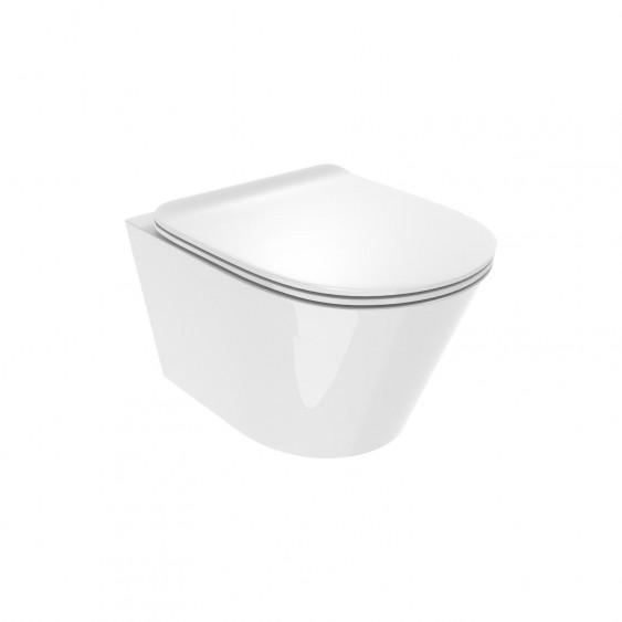 Vaso sospeso in ceramica rimless senza brida con sedile slim