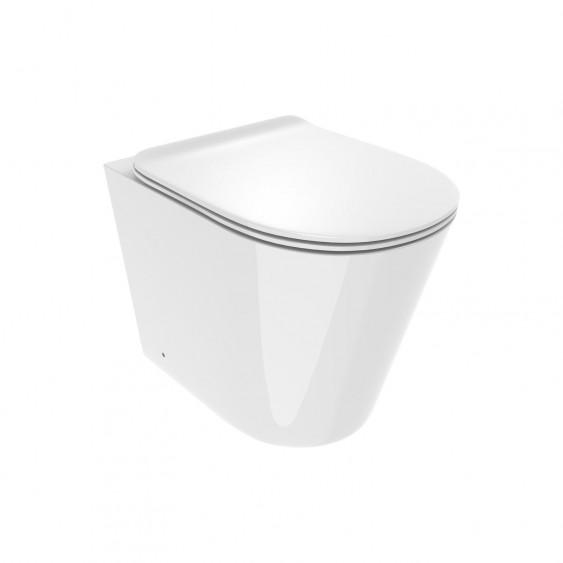 Vaso filo parete in ceramica rimless senza brida con sedile slim