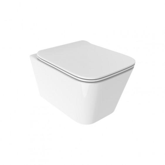 Vaso sospeso filo parete in ceramica rimless senza brida con sedile slim