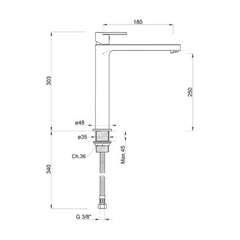 Coppia miscelatori rubinetti lavabo alto e bidet tondi cromati leva monocomando design