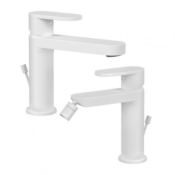 Coppia miscelatori rubinetti lavabo e bidet tondi bianchi opachi design moderno