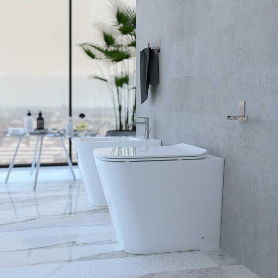 Sanitari a terra filo parete in ceramica bianca squadrati wc rimless sedile softclose