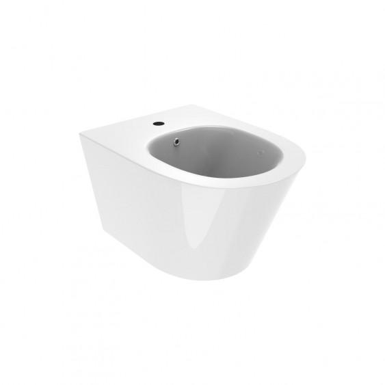 Sanitari sospesi in ceramica bianco lucido tondi wc rimless sedile softclose