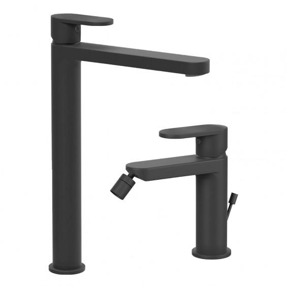 Coppia miscelatori rubinetti lavabo alto e bidet tondi neri opachi design moderno