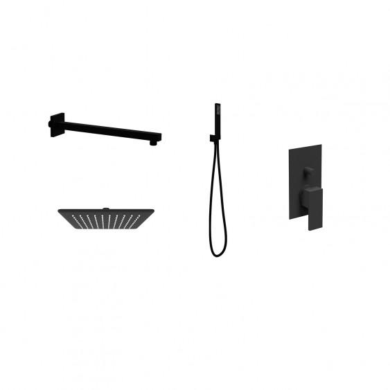 Soluzione doccia completa con soffione quadrato ultrapiatto, braccio doccia, miscelatore a 2 vie e kit doccia