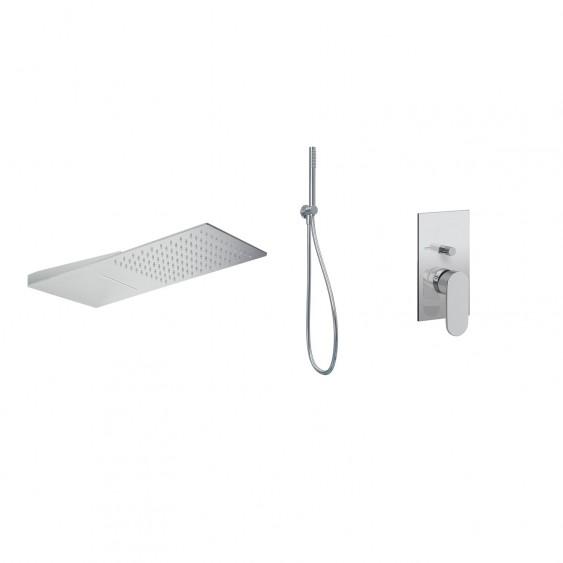 Soluzione doccia completa con soffione effetto pioggia/cascata miscelatore a 3 vie e kit doccia